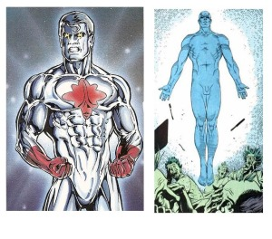 Capt. Atom on left, Dr. Manhattan on right